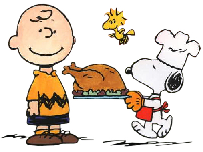 Snoopy giving Charlie Brown a Turkey